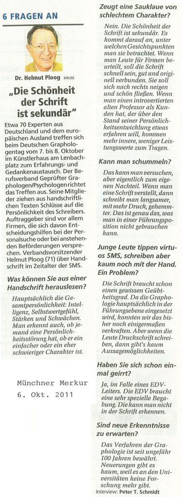 6.10.2011 Münchner Merkur: Die Schönheit der Schrift ist sekundär