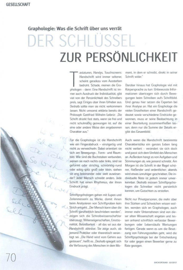 Nr. 2/2012 BACKGROUND: Der Schlüssel zur Persönlichkeit